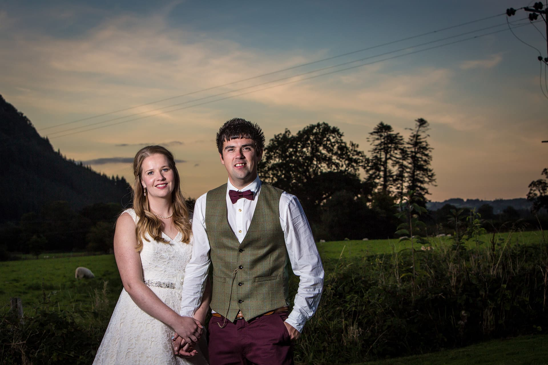 wedding photography sunset at hafod farm