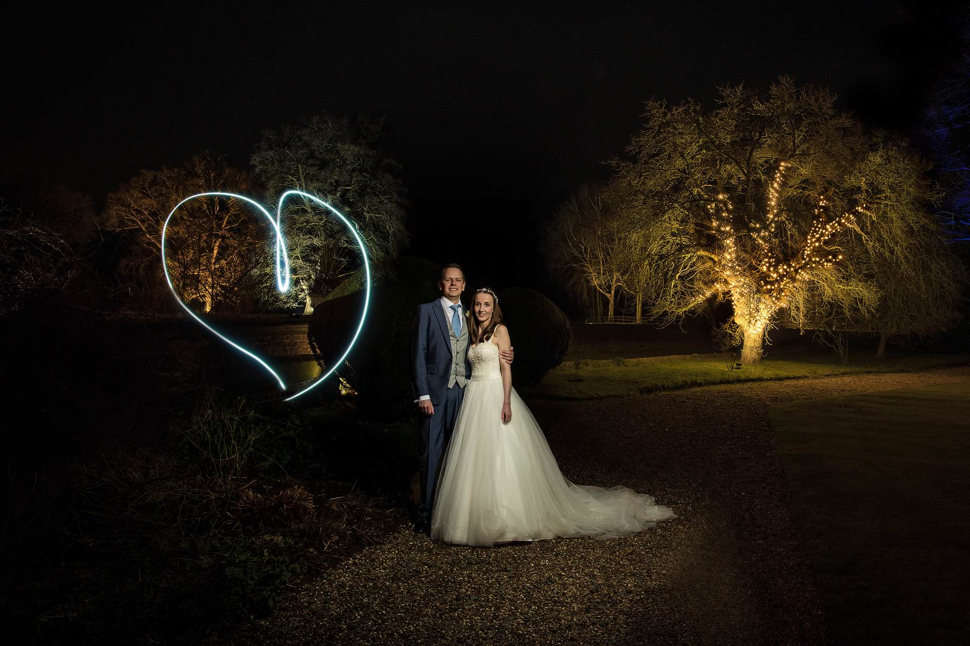 Wedding photography with heart light painting