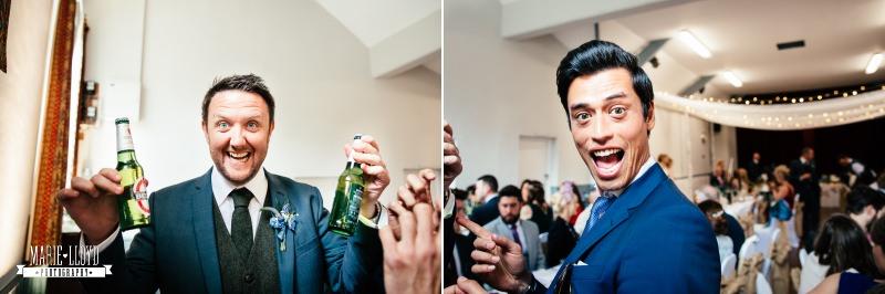 groomsmen holding drinks