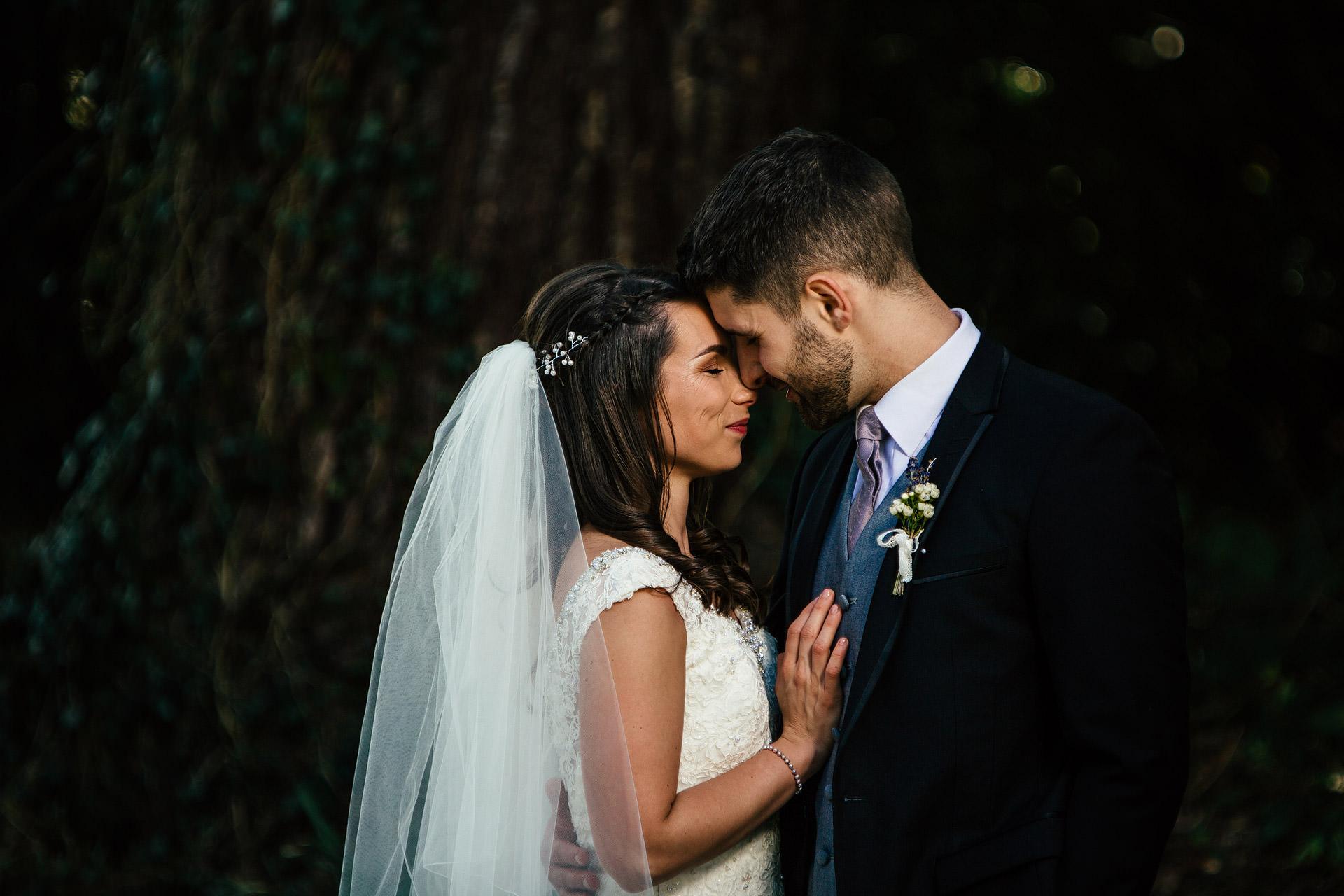 wedding couple in plas hafod hugging