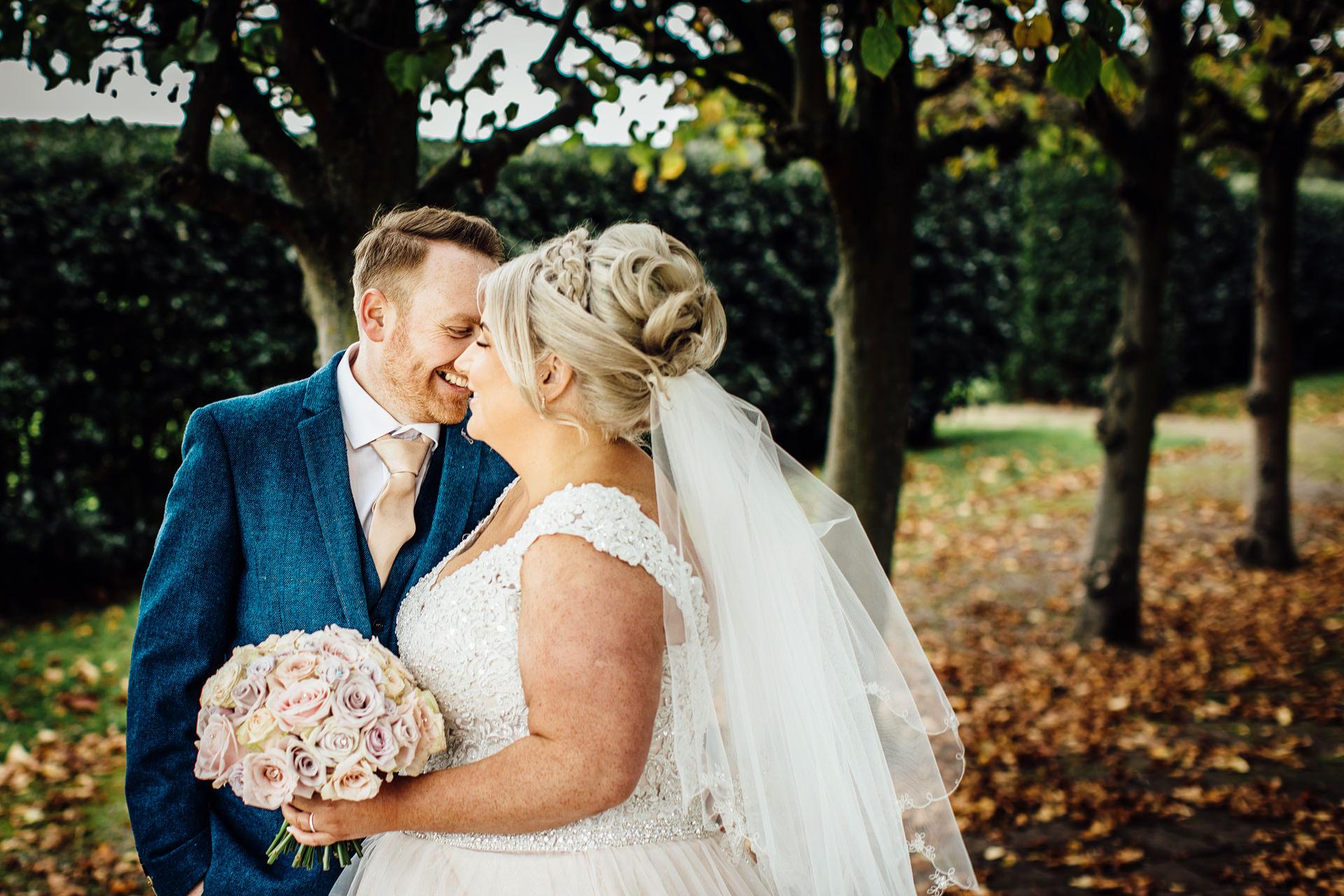 wedding couple touching noses thornton manor gardens