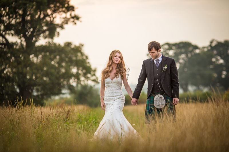 Wedding couple in hundred house hotel field shropshire