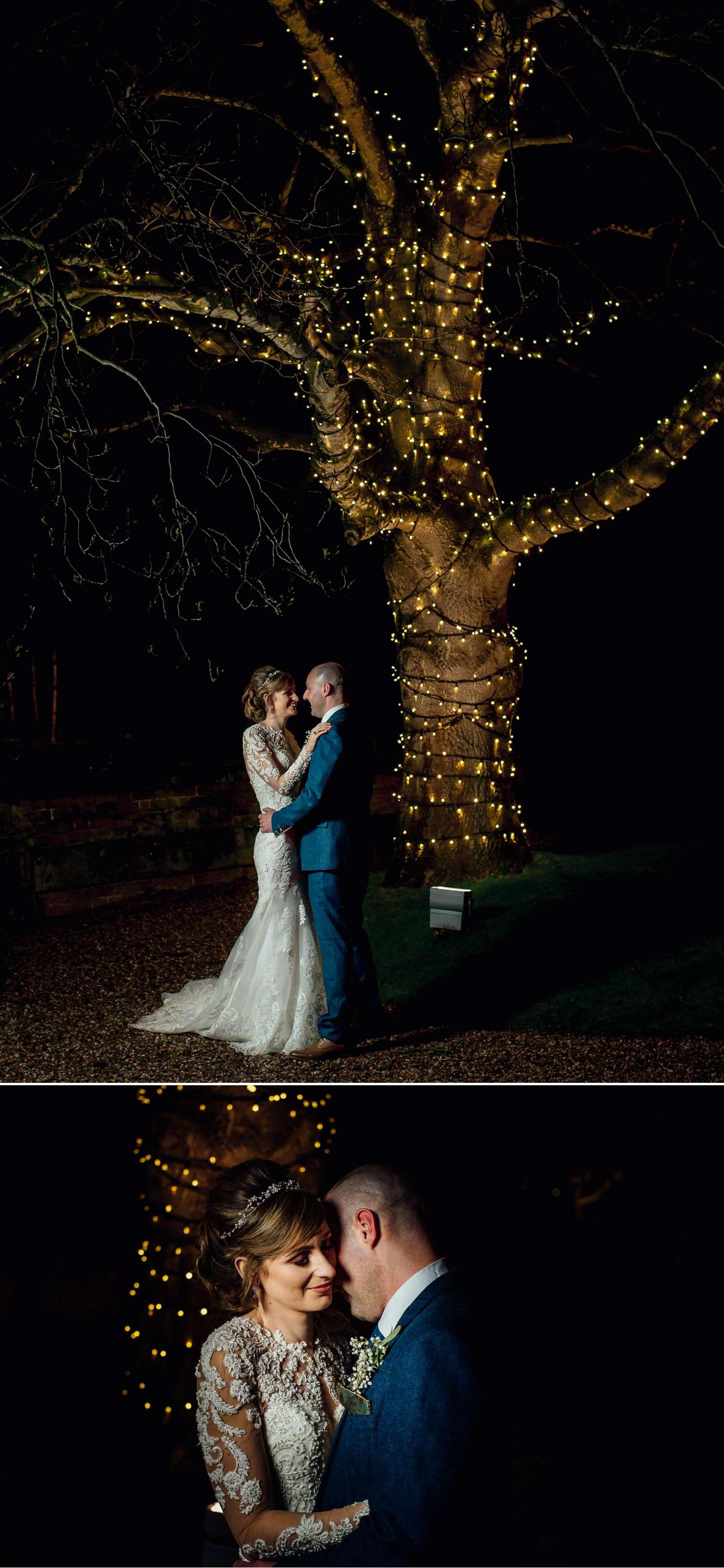 Iscoyd Park lit up tree bride and groom portraits