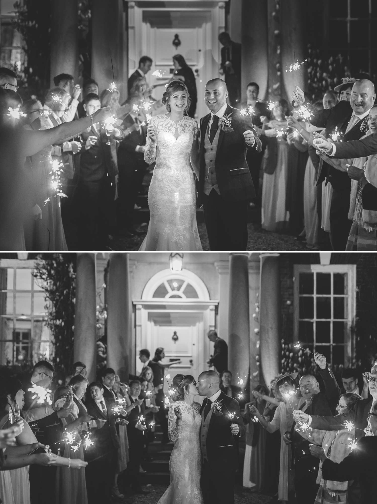 wedding sparkler exit at Iscoyd Park in black and white