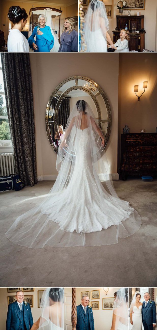 Iscoyd Park back of wedding dress in mirror