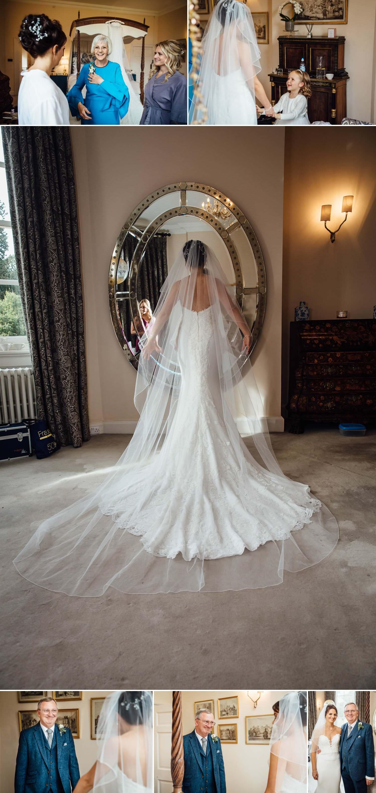 Iscoyd Park back of wedding dress in mirror