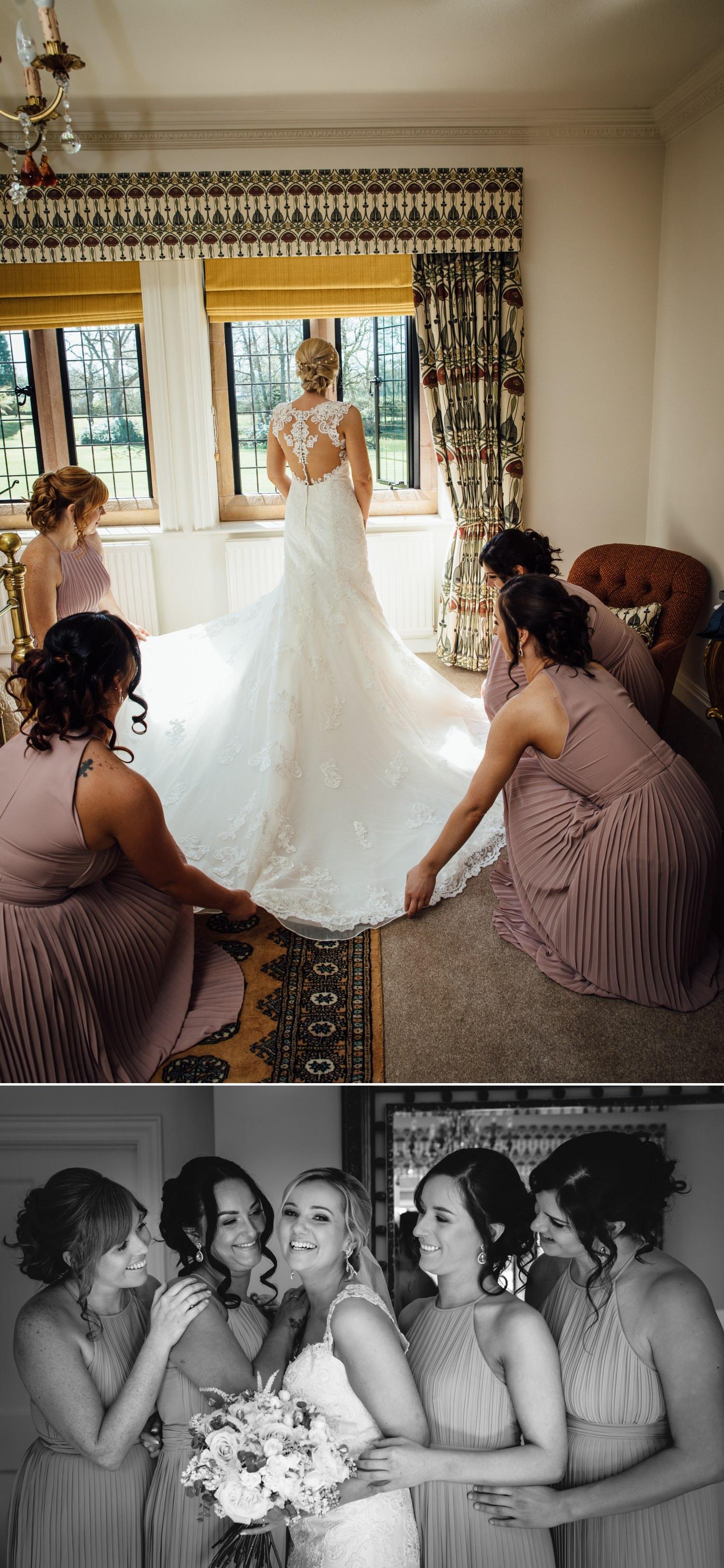 Colshaw Hall wedding photography back of wedding dress