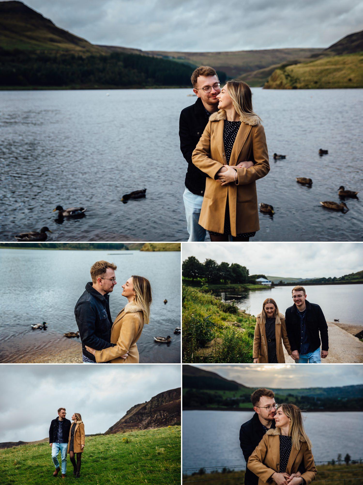 Wedding shoot of couple by ducks in Dovestone Reservoir