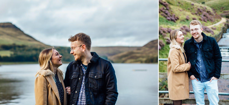 pre wedding shoot of couple against Dove Stone Reservoir scenery