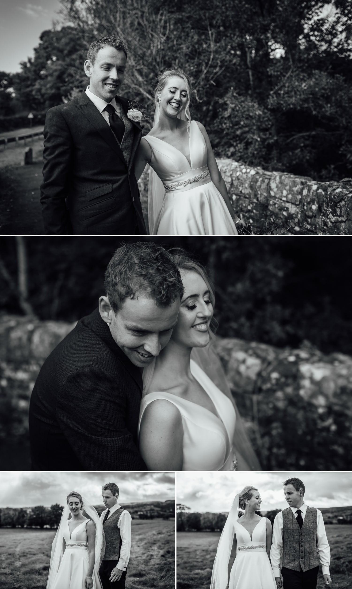 Black and white portraits of wedding couple