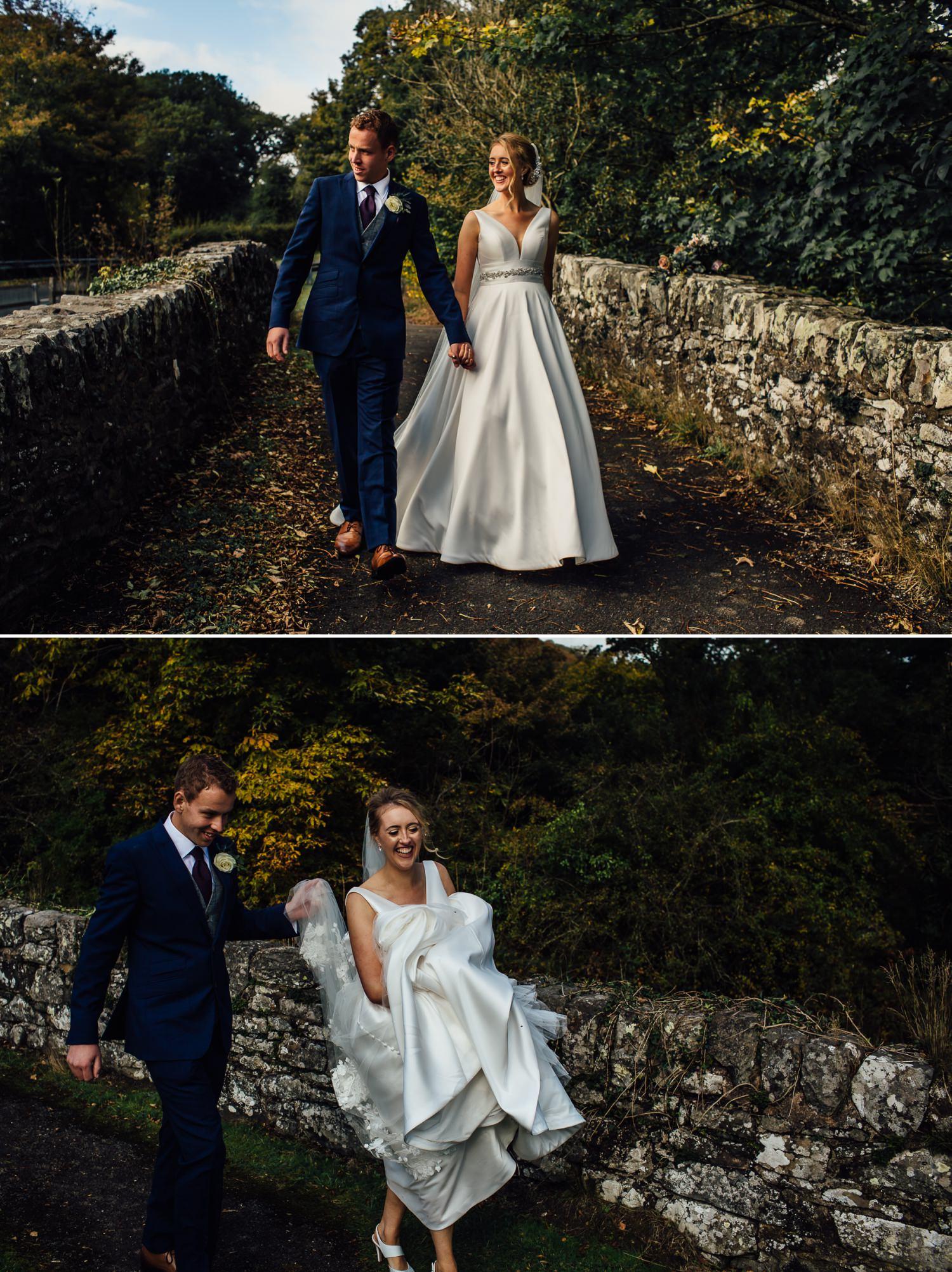 walking portraits of wedding couple
