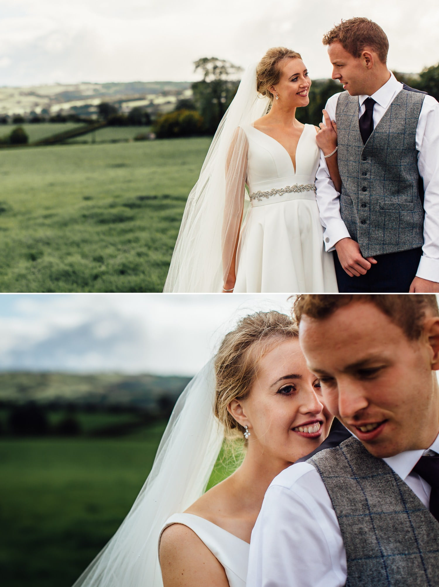wedding portraits of couple in field
