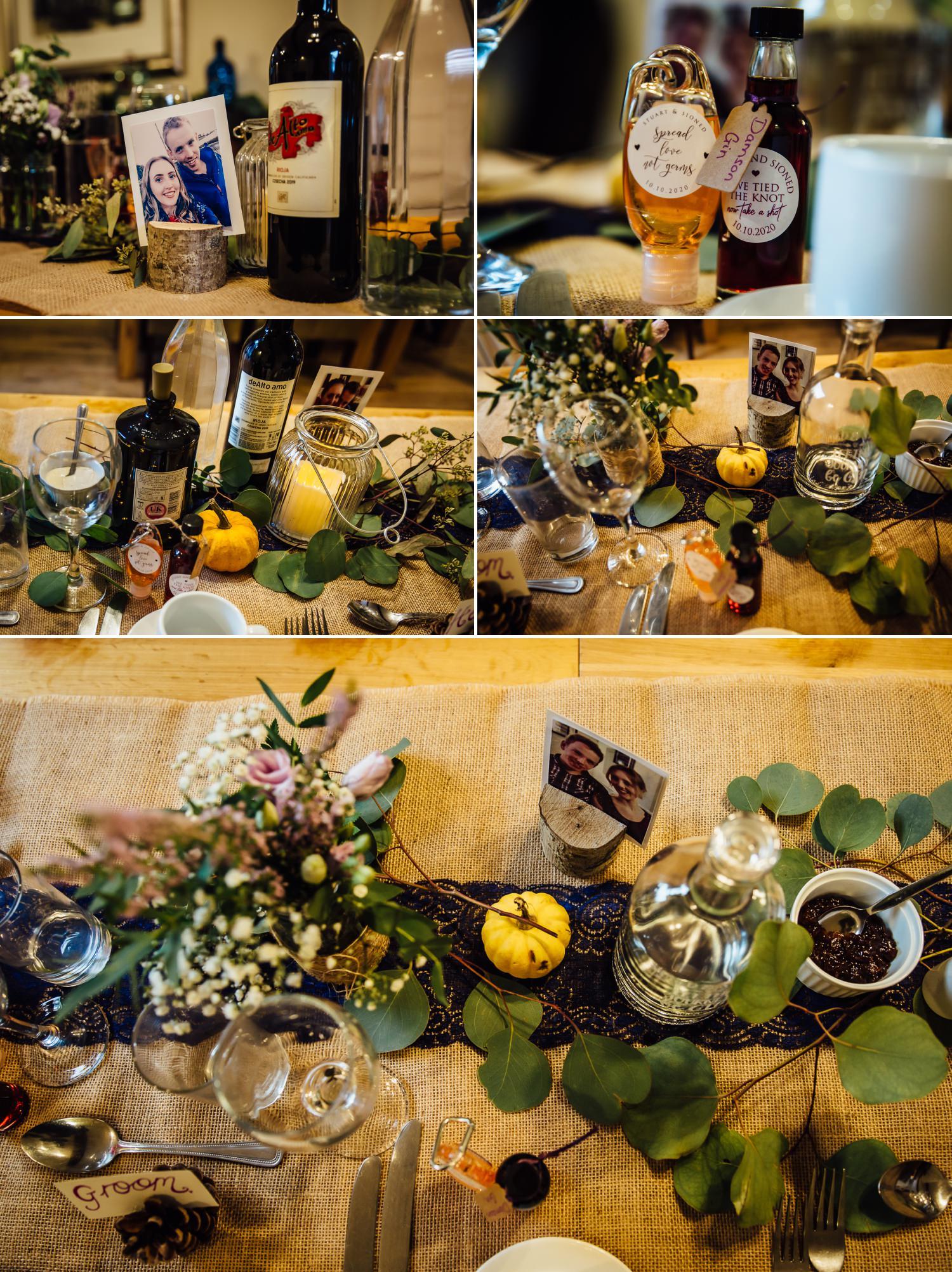 wedding photography of table display at wedding autumn theme