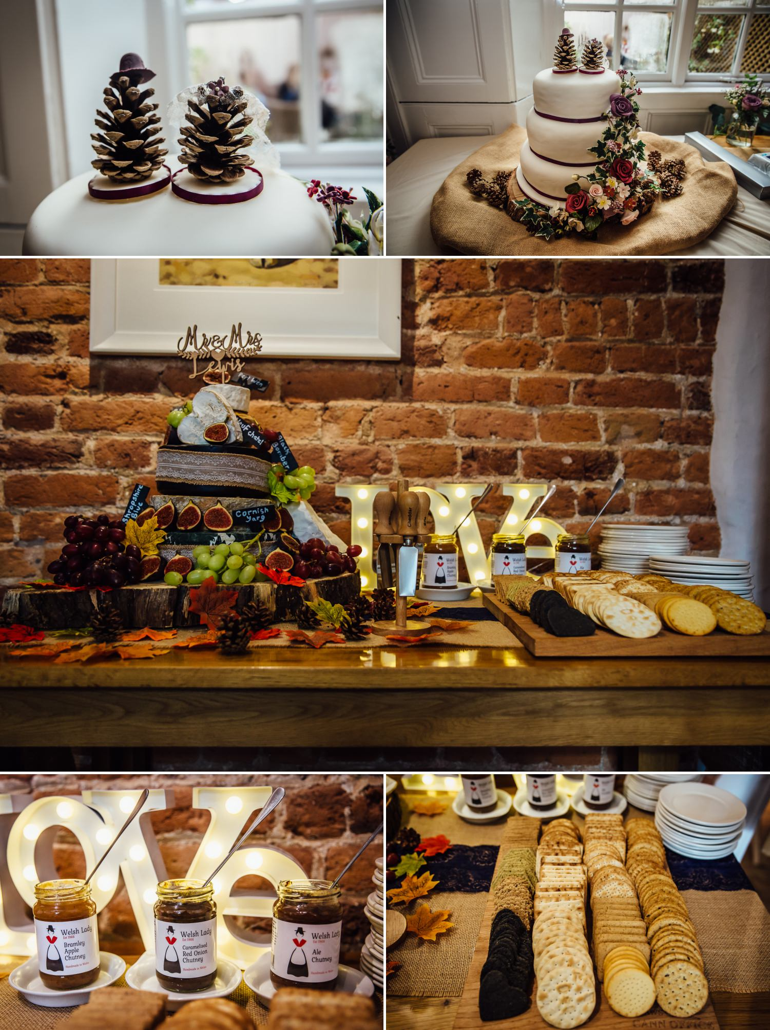 wedding photography of cheese cake and wedding cake