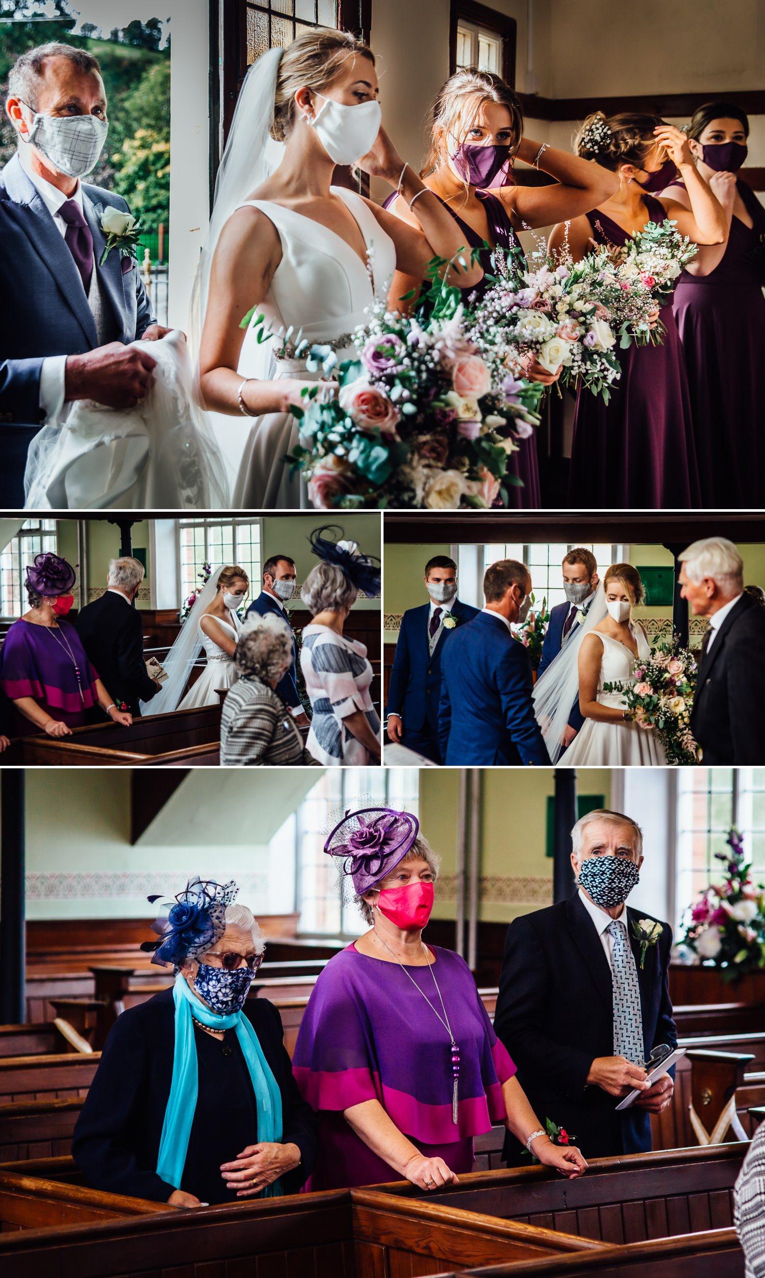 Coronavirus wedding photography of bride walking up the aisle during Covid 19