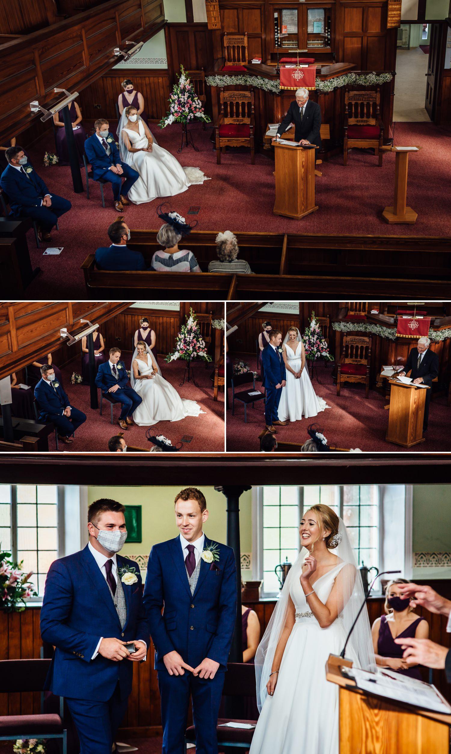 Coronavirus wedding ceremony in chapel in wales