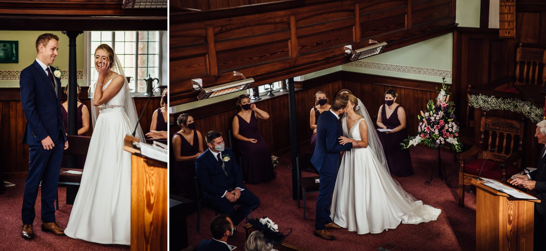 coronavirus wedding ceremony first kiss