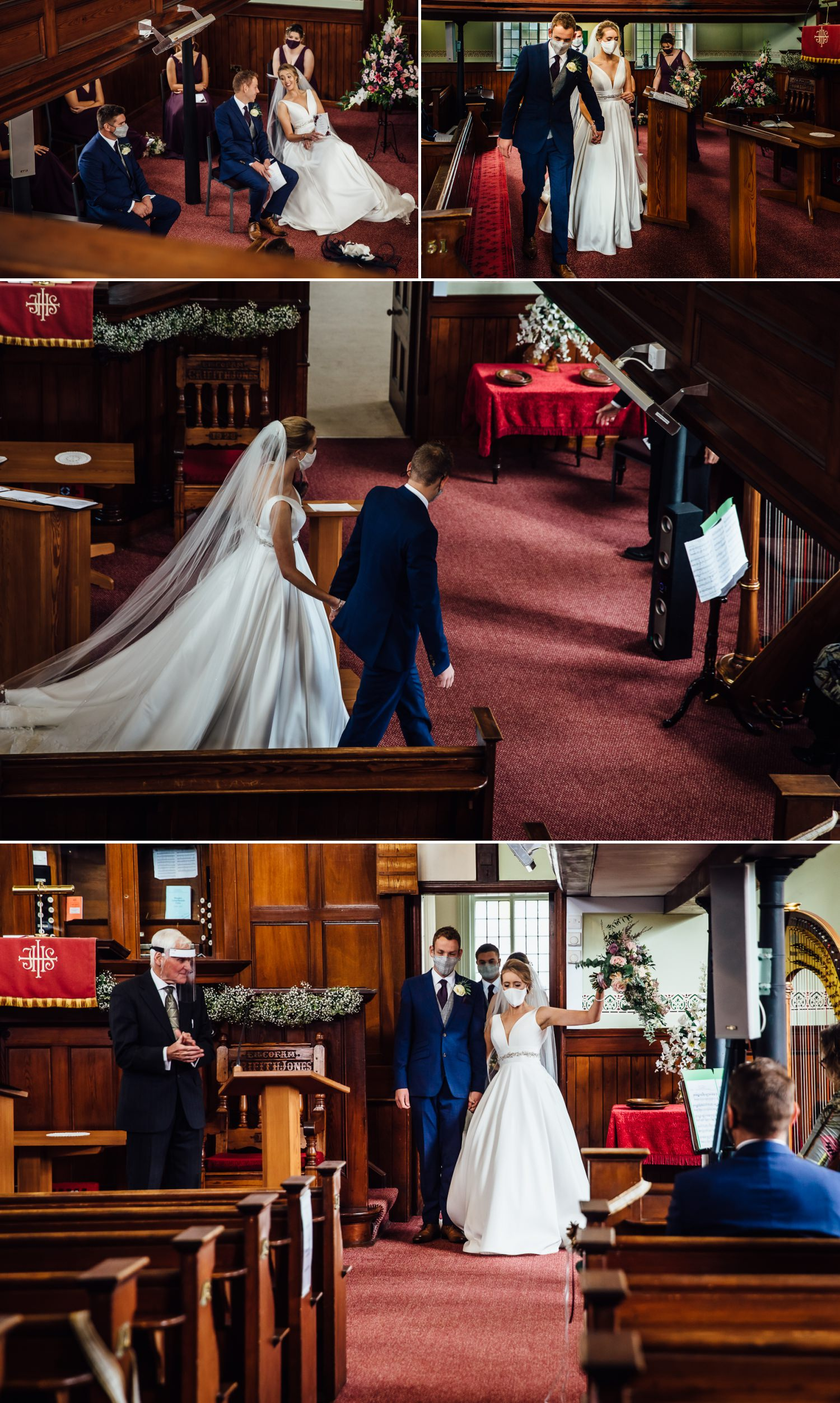 bride leaving chapel from covid 19 wedding ceremony in wales