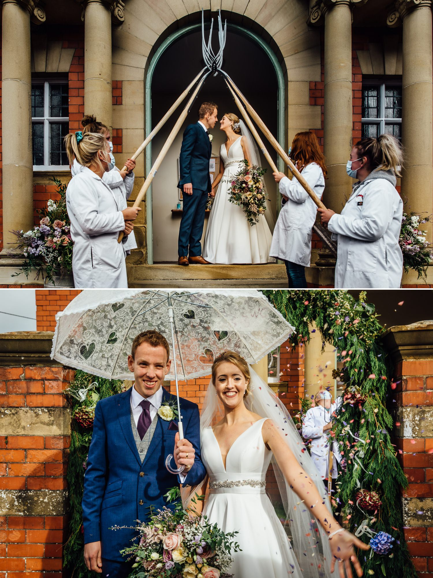 traditional farm arch for couple leaving wedding ceremony