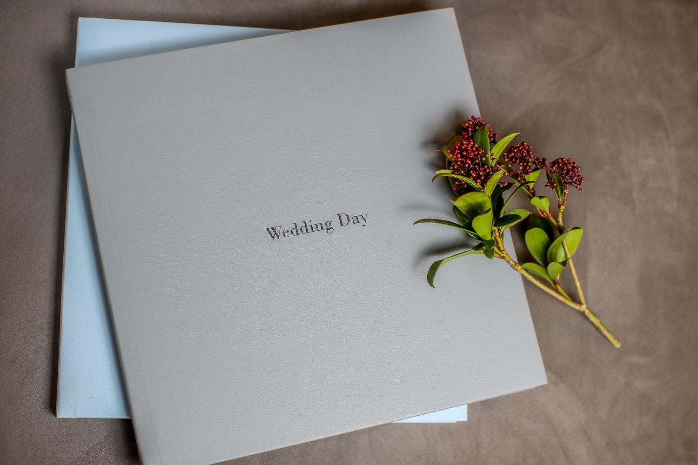 Wedding Album in duck egg blue and grey.