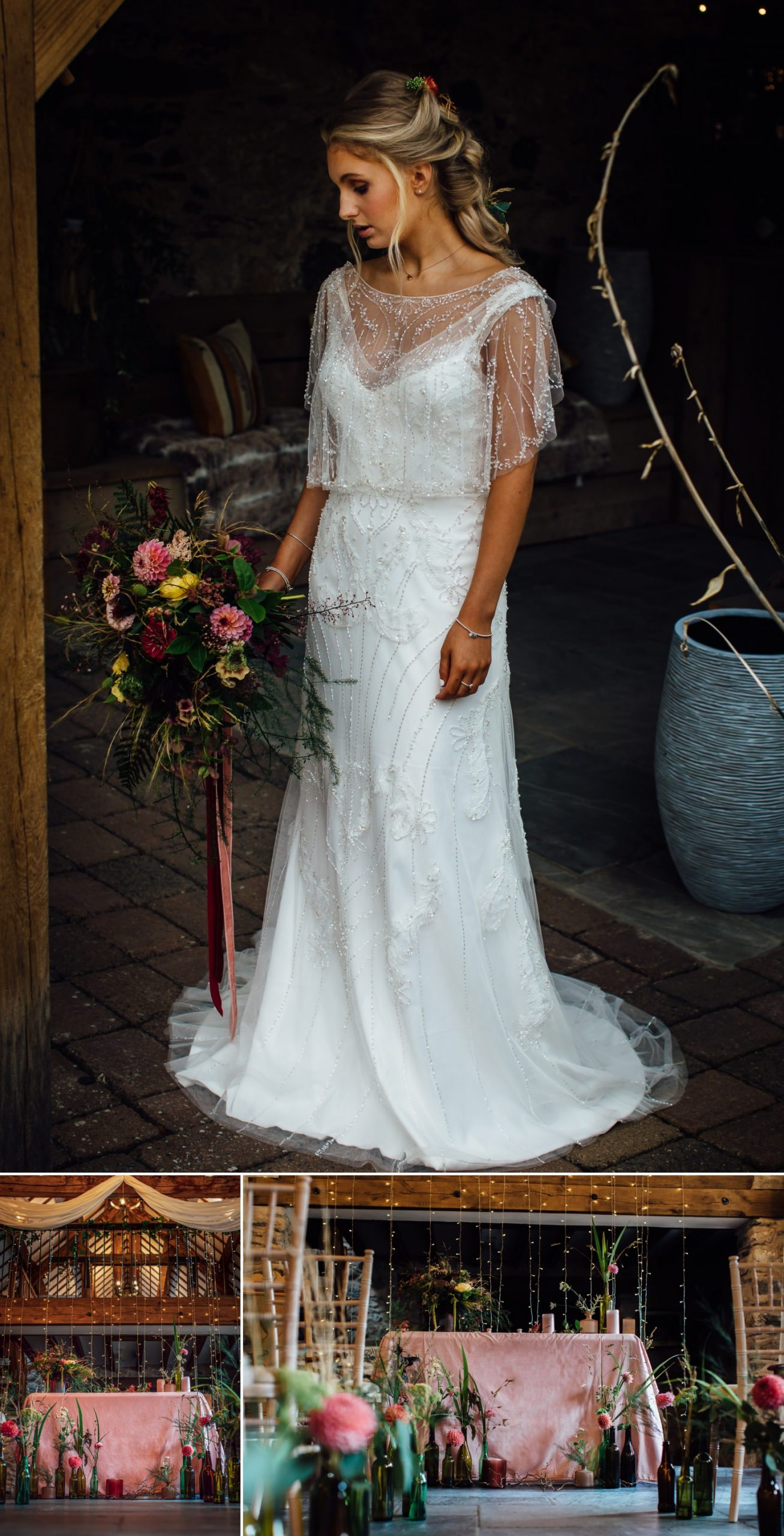 wedding dress and ailse in north wales barn