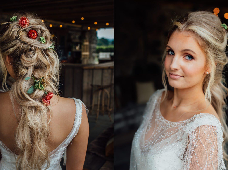 Wedding photography of boho themed hair and make