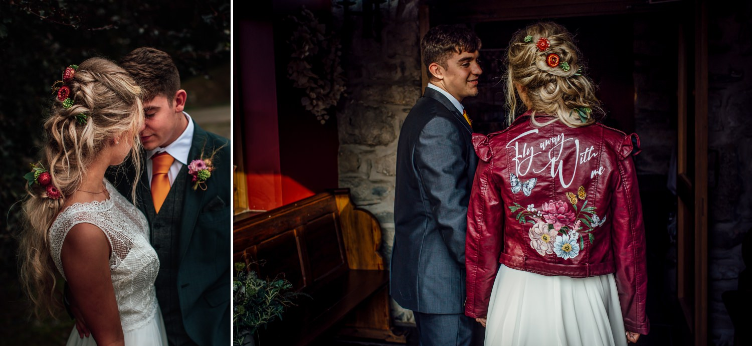 wedding photography in north wales, corwen with painted wedding jackets