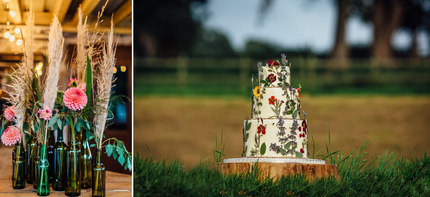 Wedding photography of Boho themed cake and pampas grass