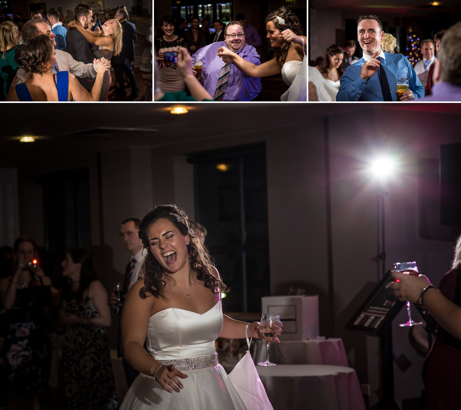 Guests dancing at the Quay hotel north wales, being professionally photographed