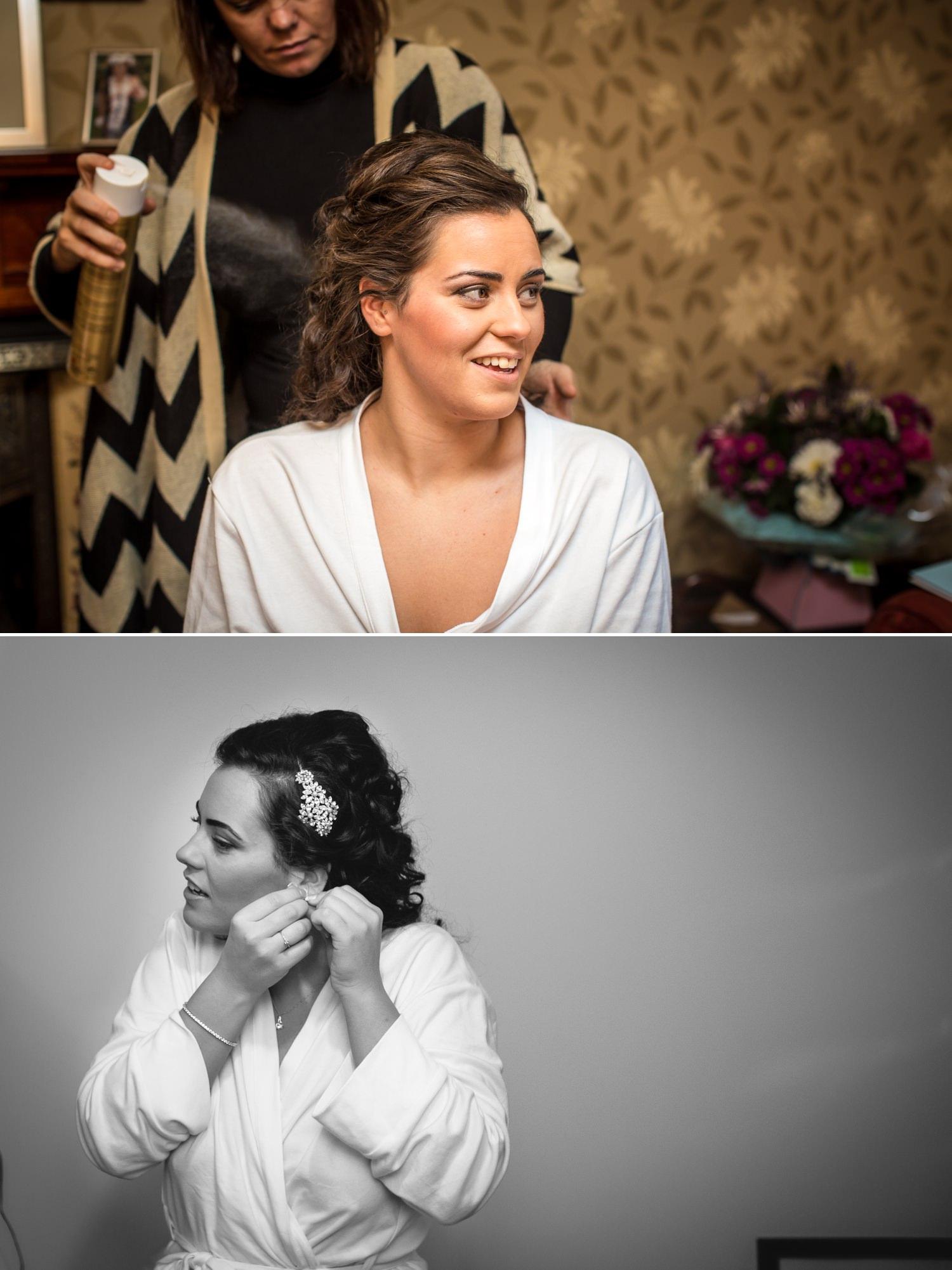 Wedding photographer North Wales, Llandudno, photograph of bride getting ready