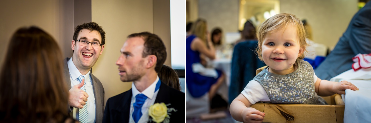 Guests being photographed by professional wedding photographer  at the deganwy quay hotel wedding reception north wales