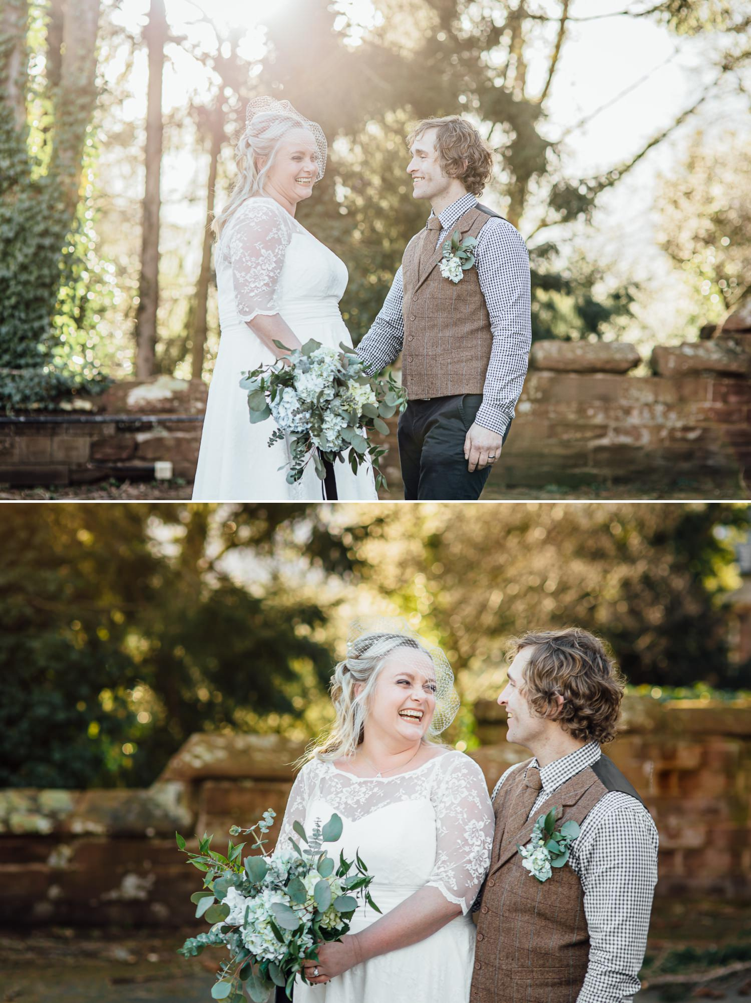 Affordable Wedding photography portraits outside Ruthin Castle North Wales