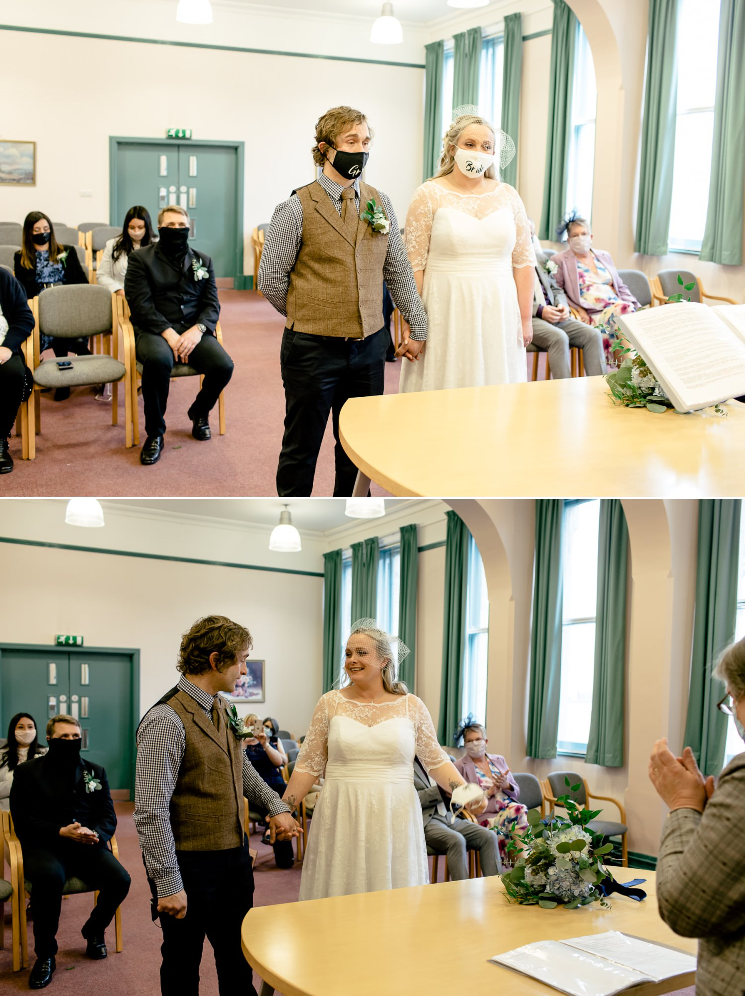 Affordable Wedding photographer doing Covid restricted wedding ceremony at Ruthin Town Hall