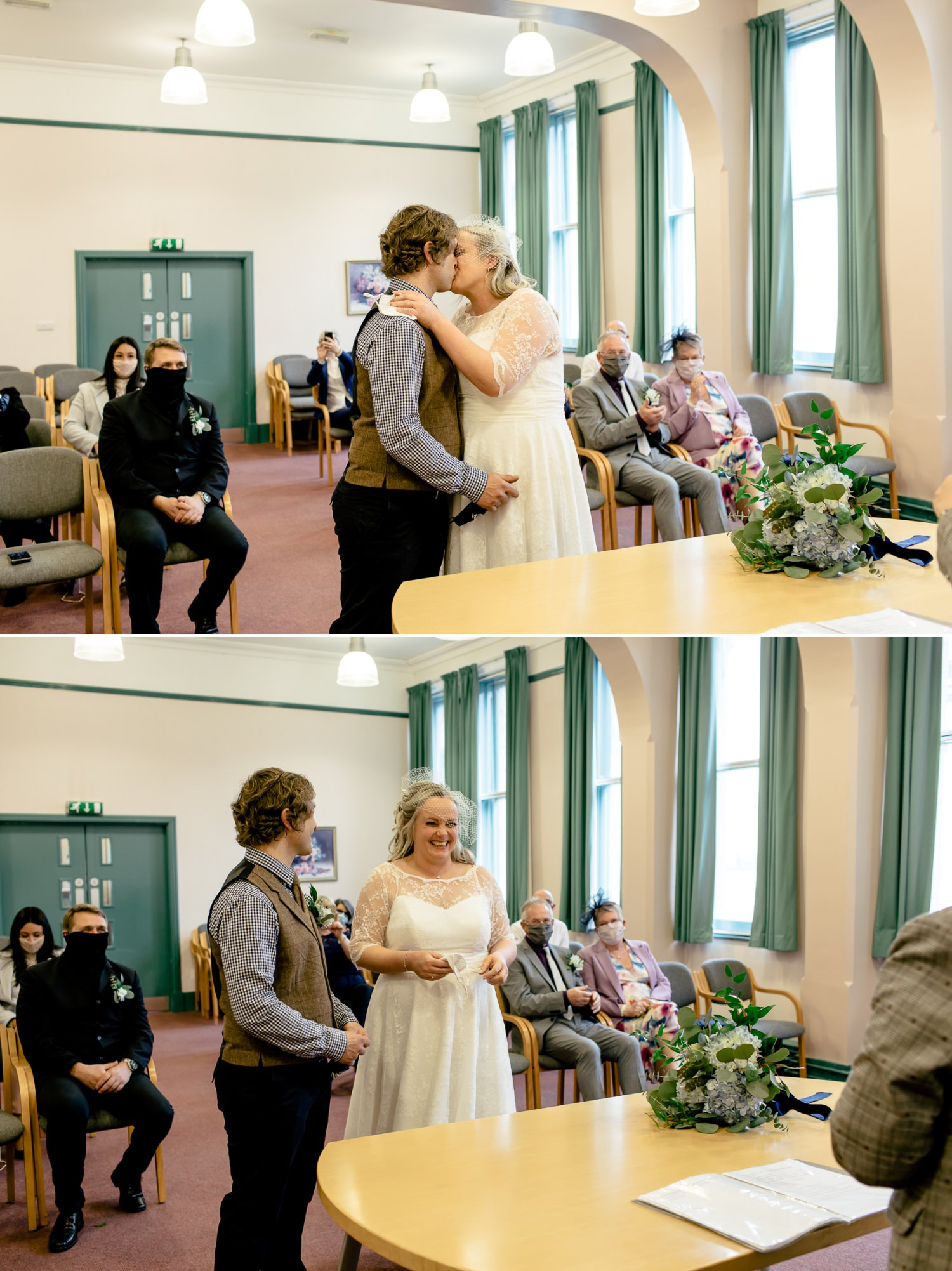 First kiss provided by Affordable Wedding photographer