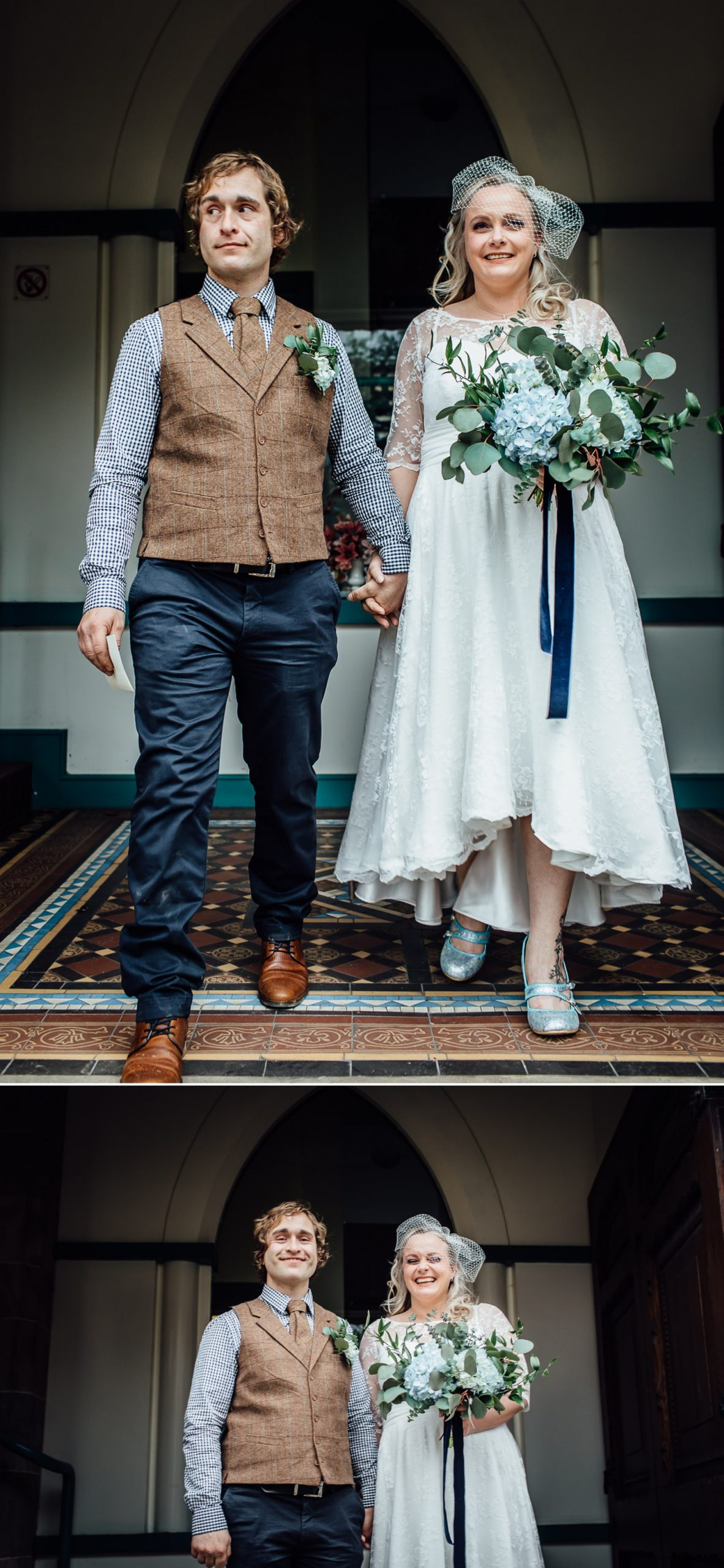 Affordable Wedding photograph of couple leaving the ceremony at Ruthin Town Hall