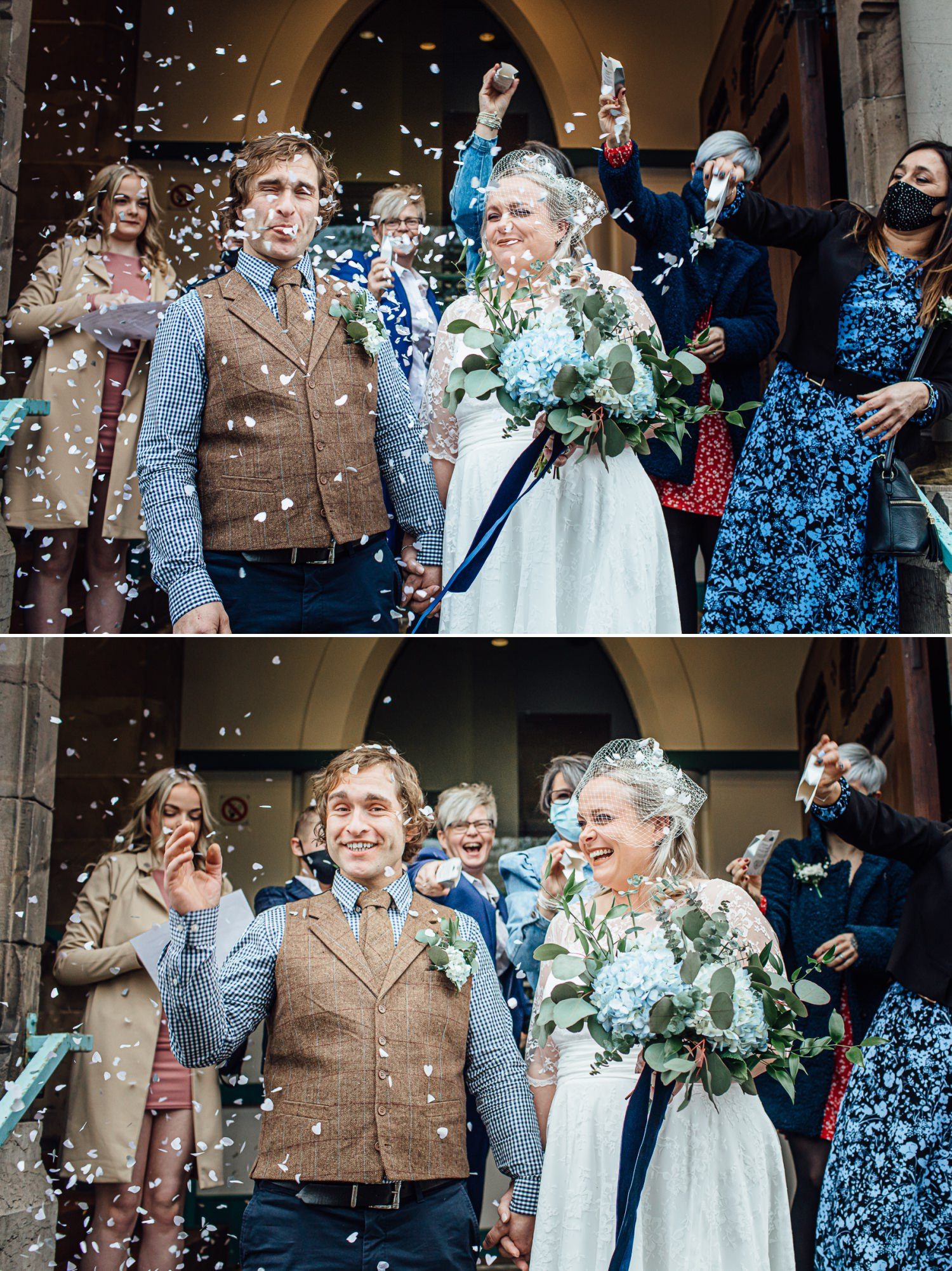 Affordable Wedding photographs of confetti outside Ruthin Town Hall in North Wales
