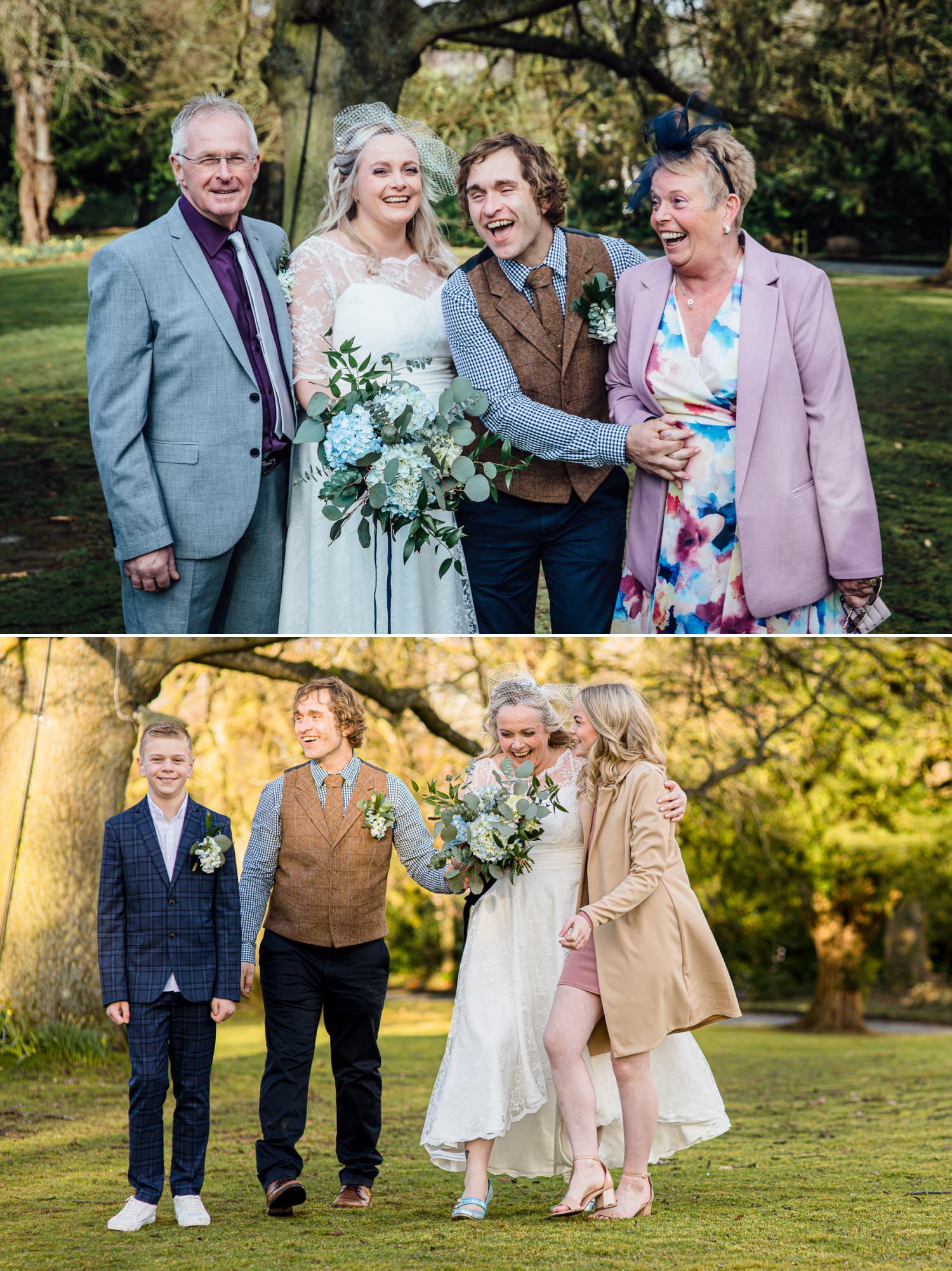 Affordable Wedding photographer group shots outside Ruthin Castle