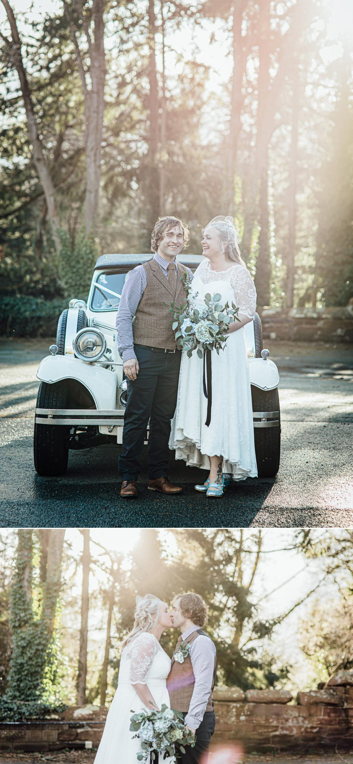 Affordable Wedding photographs with wedding car outside Ruthin Castle North Wales