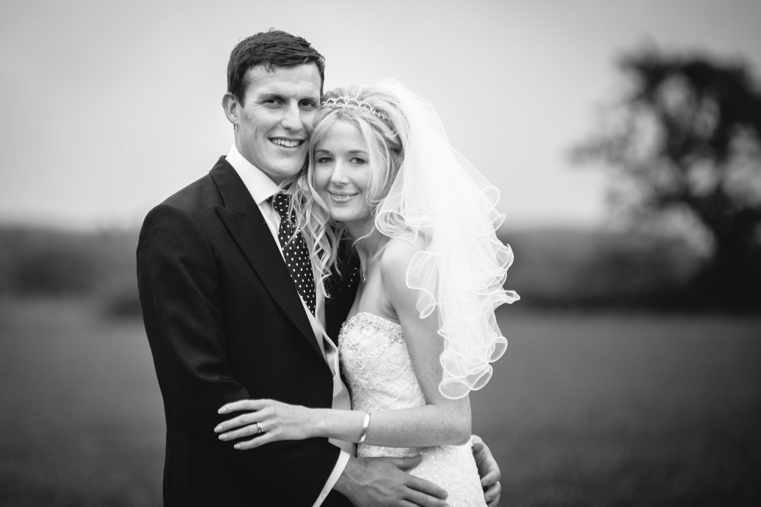 Wedding portrait of bride and groom in Cheshire