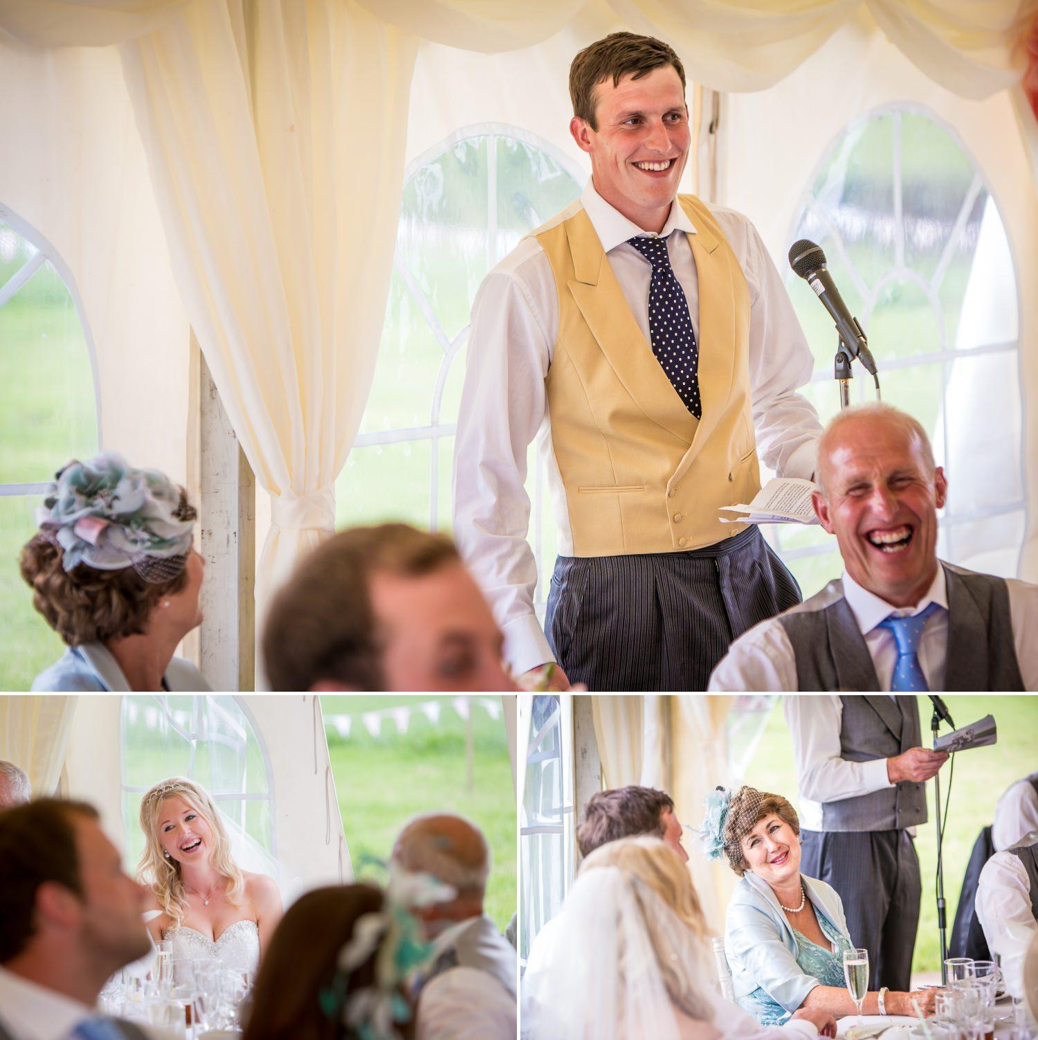 Wedding speeches photographed at farm wedding Cheshire