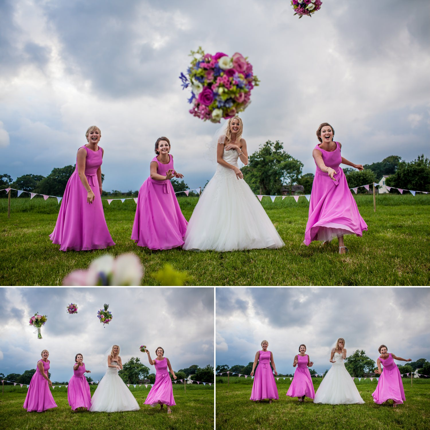 Wedding Bouquet toss being photographed in cheshire