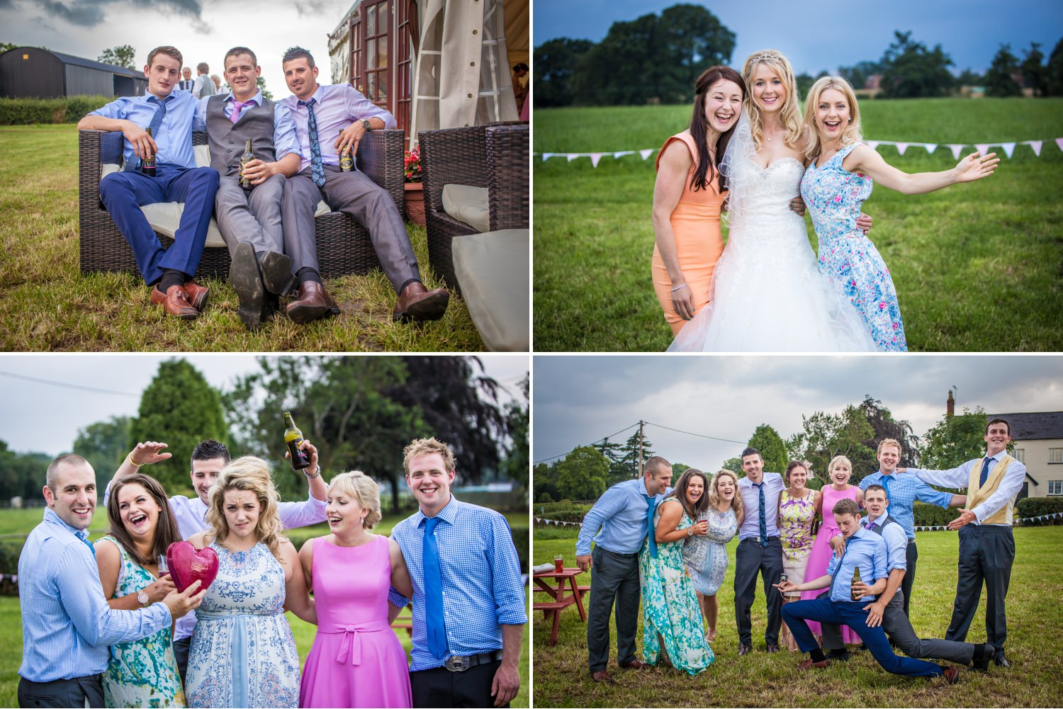 Guests being photographed having fun at Marquee Farm wedding Cheshire