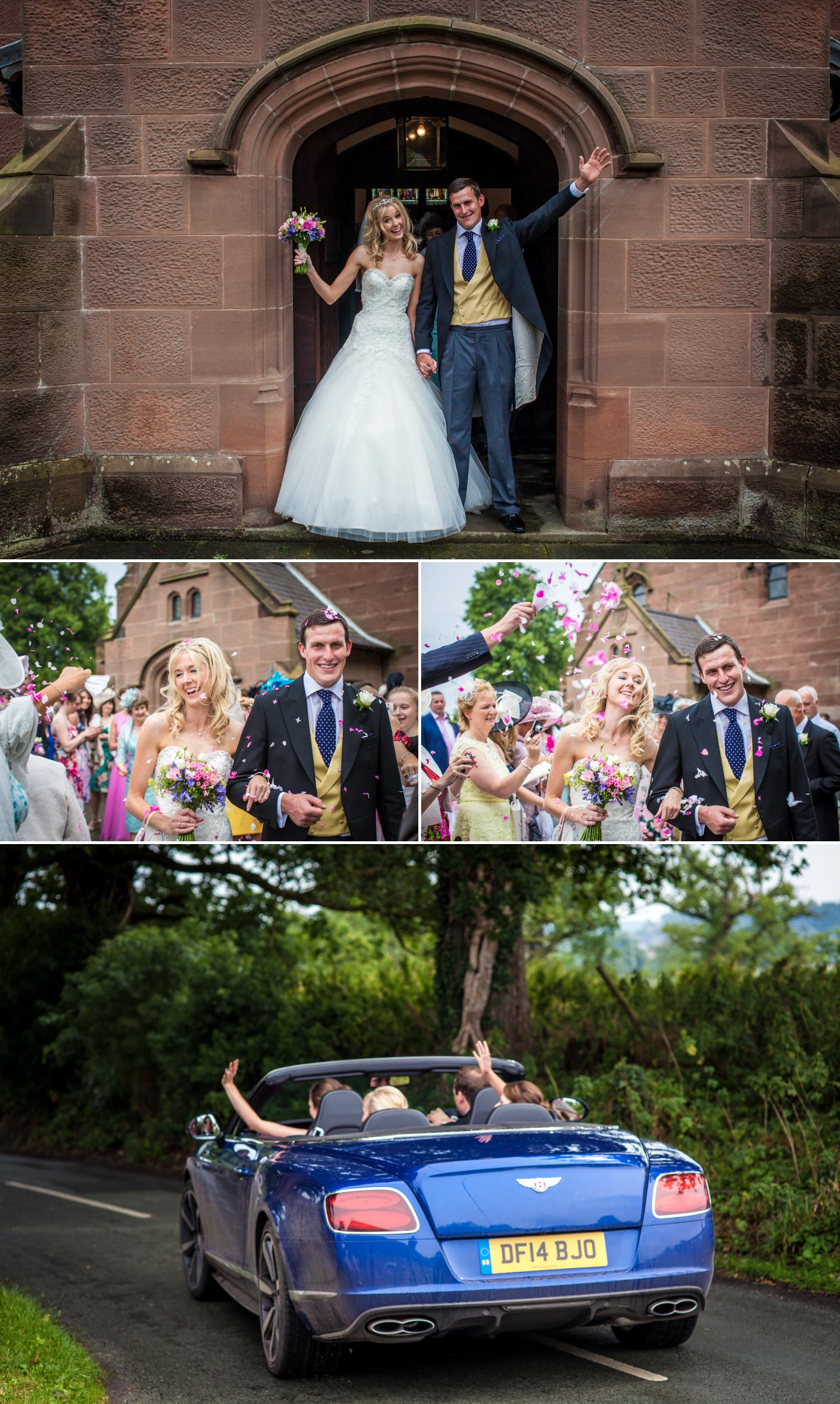 Leaving the wedding ceremony photographs in Cheshire