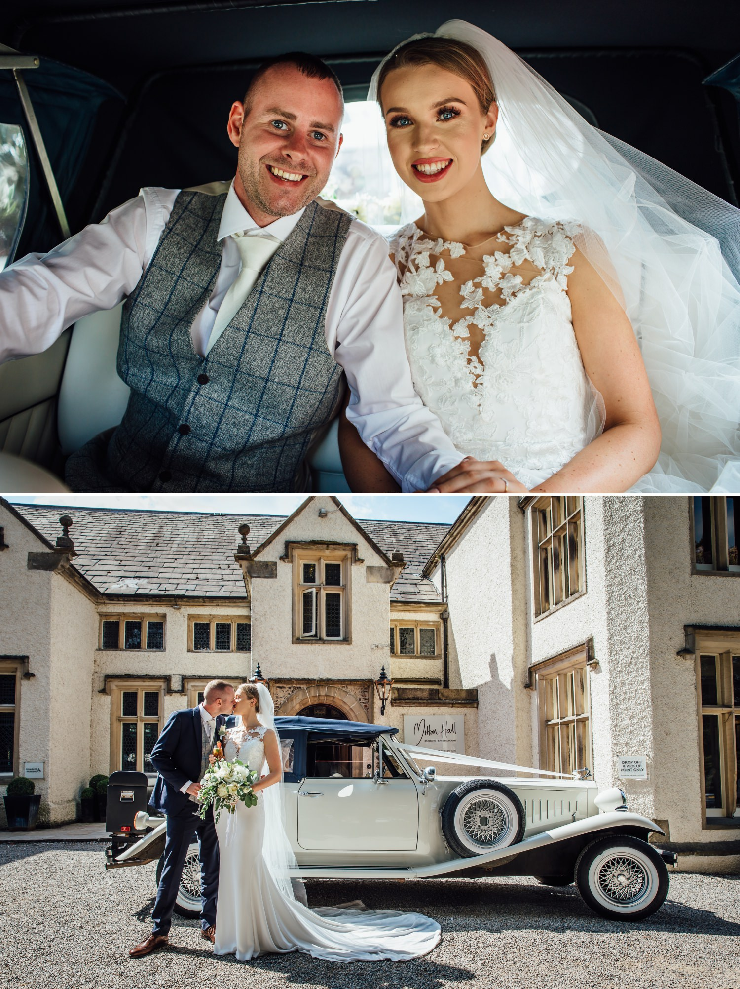 Wedding photography of couple outside venue Milton Hall, Lancashire