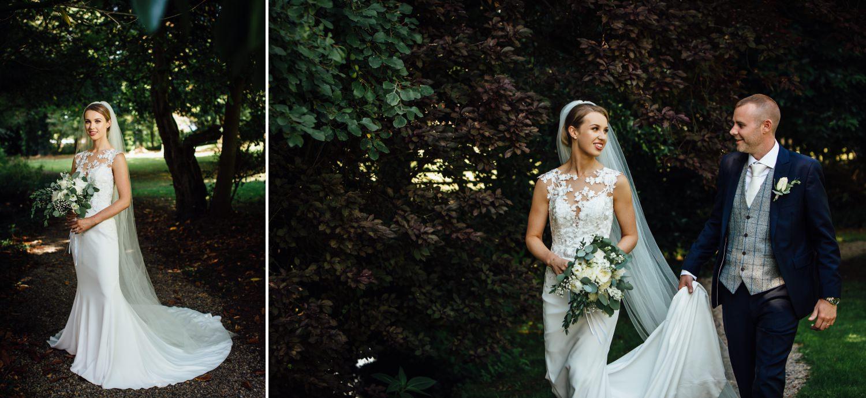 Wedding photography garden portraits at Milton Hall, Lancashire