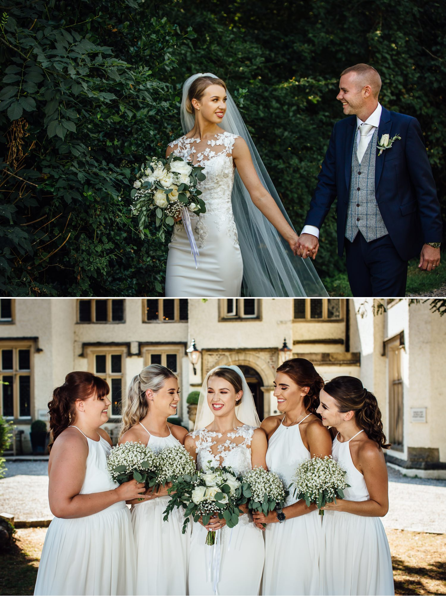 Wedding photography of bride and bridesmaids at Milton Hall, Lancashire