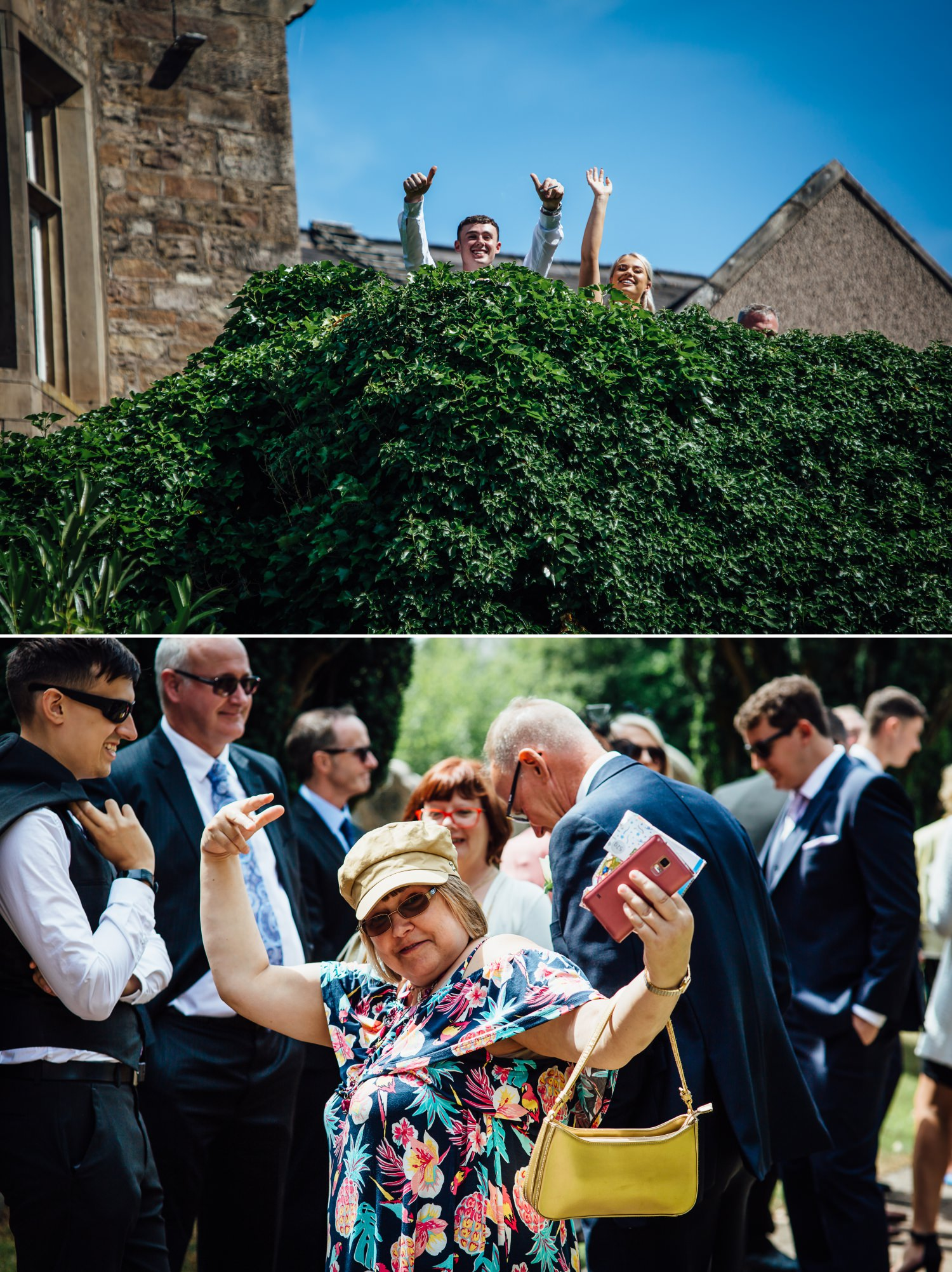 Wedding photography of guests at Milton Hall, Lancashire