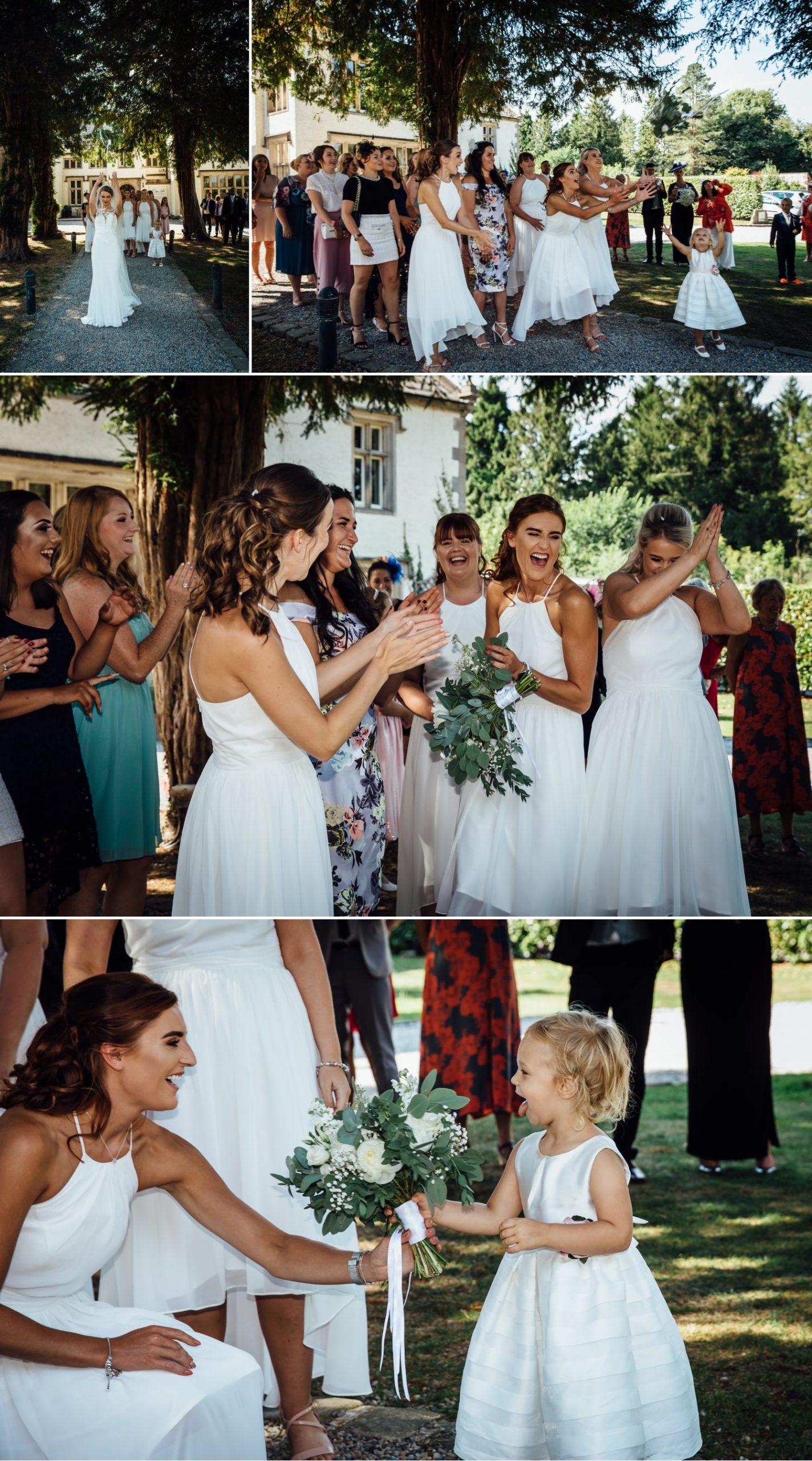 Wedding photography of bouquet toss at Milton Hall, Lancashire