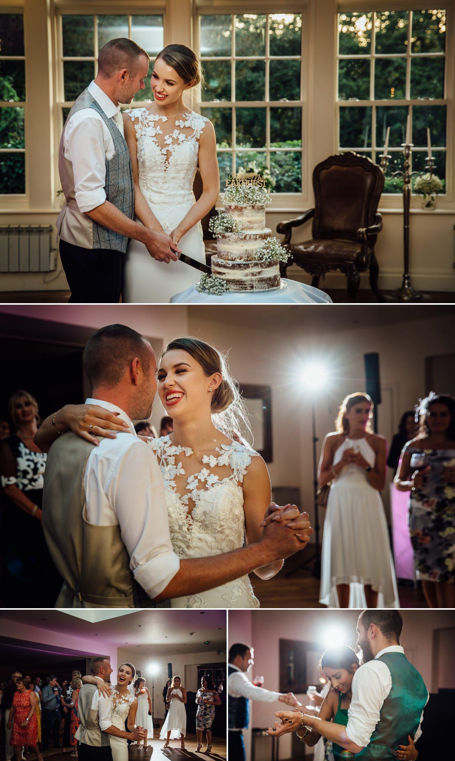 Wedding photography cake cutting at Milton Hall, Lancashire