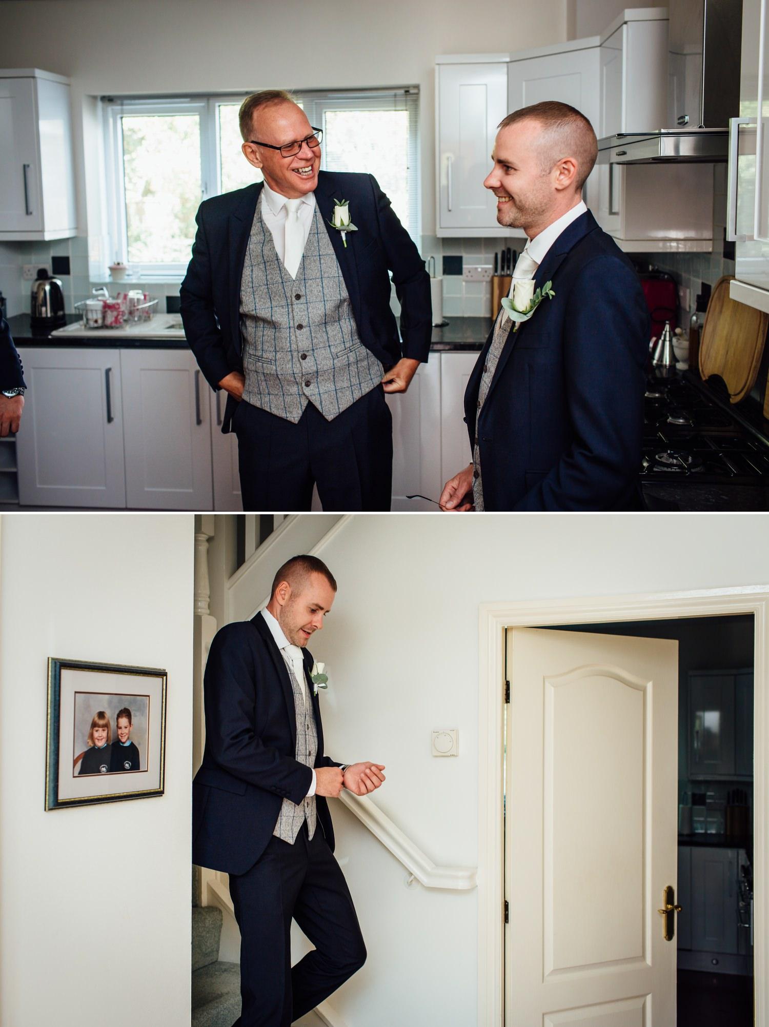 Wedding photography of groom getting ready at Milton Hall, Lancashire